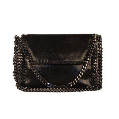 Leren Schouder-tas-Chains- zwart zwarte-dames leder-tas -zilver kettingen rondom ketting hengsel musthave-fashion-goedkoop look a like bags
