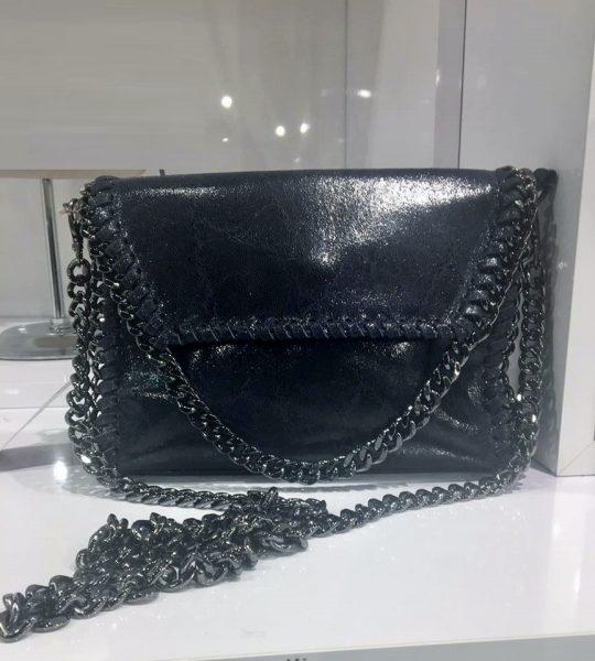 Schoudertas Zwart Ketting : Leren schoudertas chains mooie dames tassen met