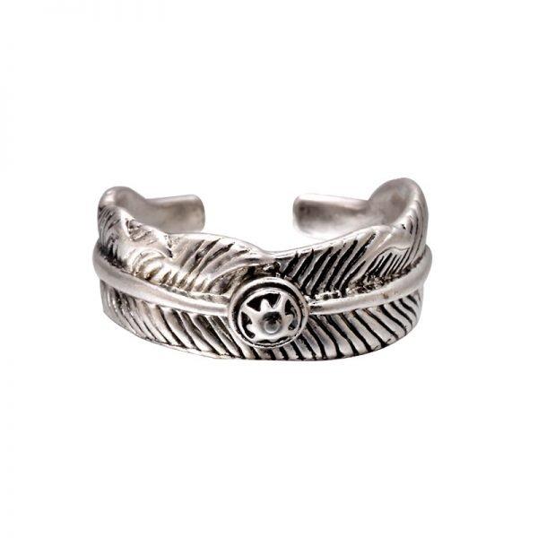 Zilveren Ring Feather Circle boho zilver dames ringen veertje zilvere open achterkant accessoires rings online kopen goedkoop