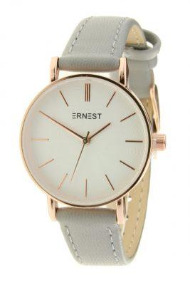 Horloge Misty grijs grijze band wit klokwerk pastel kleurige dames horloges met gouden kast musthave ernest horloges accessoiresjpg