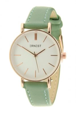 Horloge Misty groen groene band wit klokwerk pastel kleurige dames horloges met gouden kast musthave ernest horloges accessoiresjpg