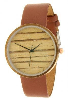 Horloge Wood cognac band bruin bruine klokwerk dames horloges met houten look kast musthave ernest horloges accessoiresjpg
