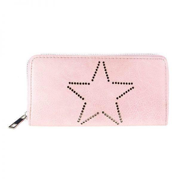 Portemonnee-Star-roze pink -dames-portemonees grote ster print steentjes-wallet-online-bestellen-kopen-musthave-accessoires
