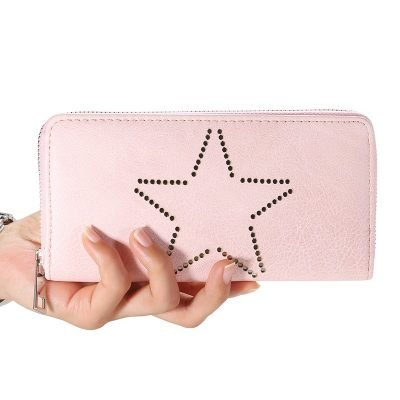 Portemonnee-Star-roze pink -dames-portemonees grote ster print steentjes-wallet-online-bestellen-kopen-musthave-accessoires fashion