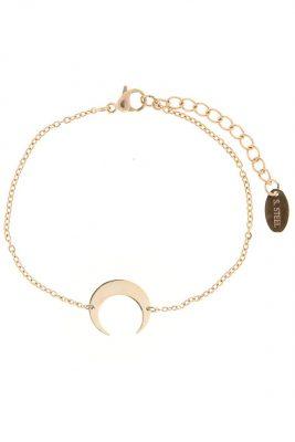 RVS Armband Moon rose goud dames armband halve maan bedeltje verstelbare dunnen roestvrij stalen armbanden