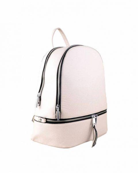 Rugtas Ritsen off white beige kunstleder rugzak zilveren ritsen kleine handige rugtassen rugzakken backpack online zijkant