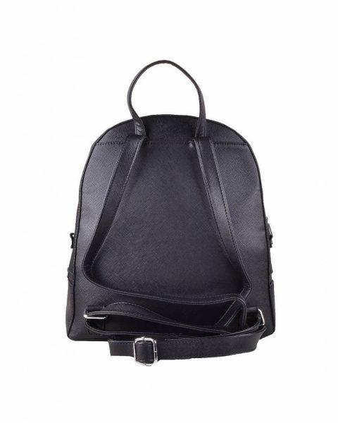 Rugtas Ritsen zwart zwarte kunstleder rugzak zilveren ritsen kleine handige rugtassen rugzakken backpack online achterkant