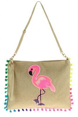 Schoudertas Neon Flamingo rieten clutch tas dames tassen met flamingo print rieten tassen online bestellen zomer