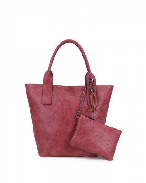 Shopper Croco rood rode ruime dames shopppers tassen kwastje extra portemenee dames giuliano luxe tassen