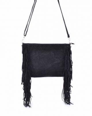 Suede-Clutch-fringe- zwart zwarte -clutches-suede tassen-franjes-side-fringe-giuliano-leren-dames-tassen-goedkoop