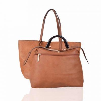 Bag in Bag Shopper Mara bruin bruine ruime shoppers met extra binnentas gouden details klassieke dames tassen kunstleder online