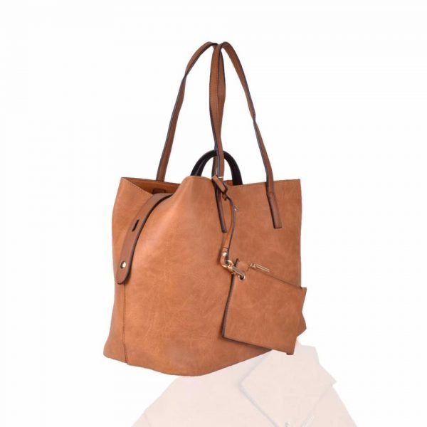 Bag in Bag Shopper Mara bruin bruine ruime shoppers met extra binnentas gouden details klassieke dames tassen kunstleder online & portemonee