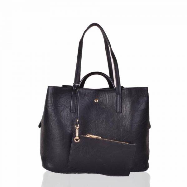 Bag in Bag Shopper Mara zwart zwarte ruime shoppers met extra binnentas gouden details klassieke dames tassen kunstleder online