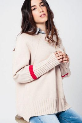 Beige Oversized Trui rood details warme dikke dames truien grote truien winter warm dames fashion modemusthaves