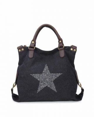 Canvas Tas Ster zwart zwarte grote tas glitter appplicatie stevige dames weekendtassen online fashion bestellen