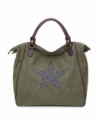 Canvas Weekend Tas Ster groen groene grote tas glitter appplicatie stevige dames weekendtassen online fashion bestellen detail