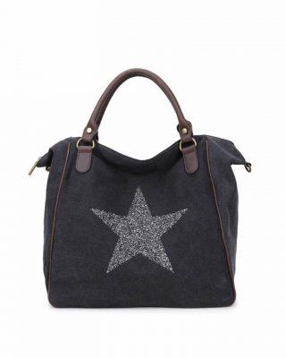 Canvas Weekend Tas Ster zwart zwarte grote tas glitter appplicatie stevige dames weekendtassen online fashion bestellen detail