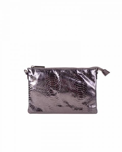 Clutch tasje snake antraciet clutches tasjes lak coating rits glans slangenprint online fashion tassen kopen