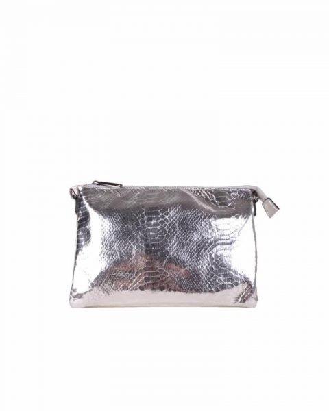 Clutch tasje snake zilver zilveren clutches tasjes lak coating rits glans slangenprint online fashion tassen kopen