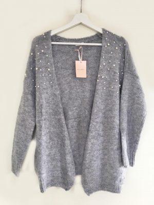 Grijs Vest Parels grijs grijze zachte wollen dames vesten open cardigans kleding kantoor school vrouwen mode modemusthaves online kopen