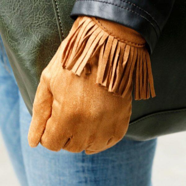 Handschoenen Fancy Fringes cognac camel dames handschoen met franjes boho cloves winter musthaves accessoires fashion