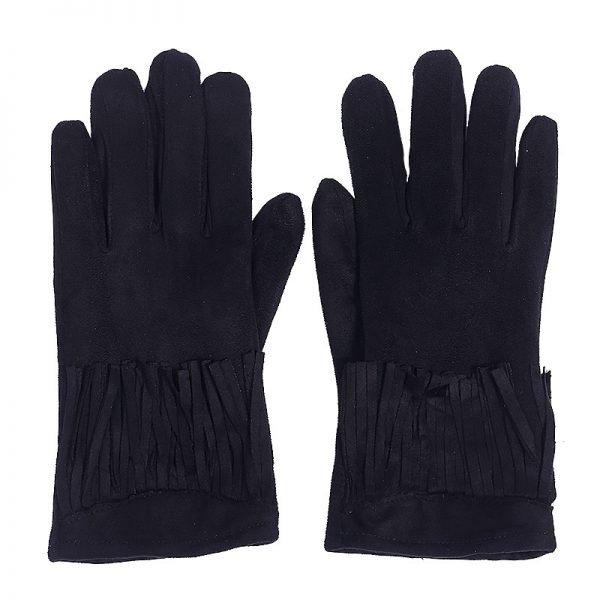Handschoenen Fancy Fringes zwart zwarte dames handschoen met franjes boho cloves winter musthaves accessoires