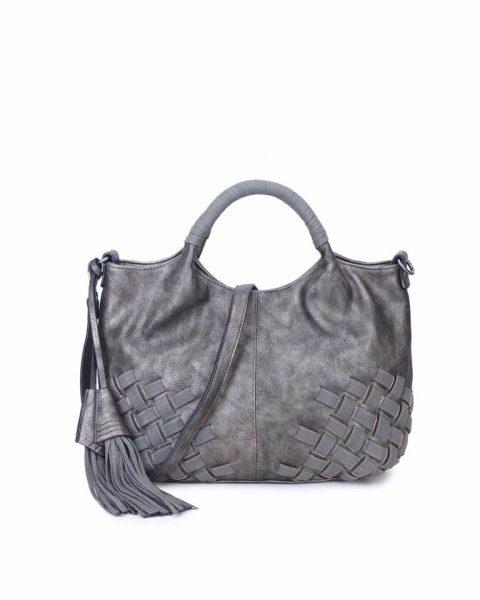 Handtas Billy grijs grijze dames handtas gevlochten onderkant 2 kwastjes schoudertas it bags tassen online