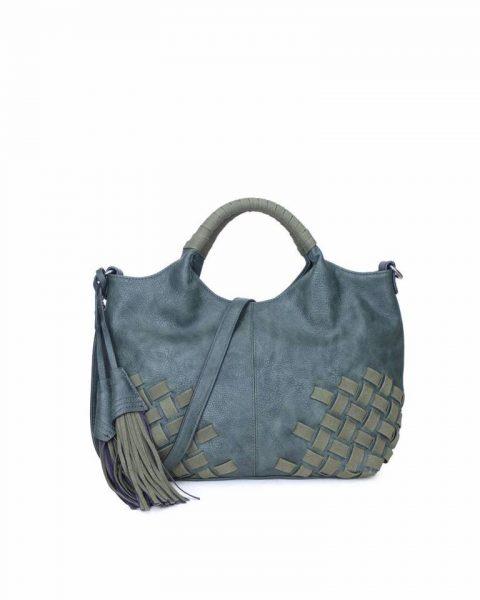 Handtas Billy groen groene dames handtas gevlochten onderkant 2 kwastjes schoudertas it bags tassen online