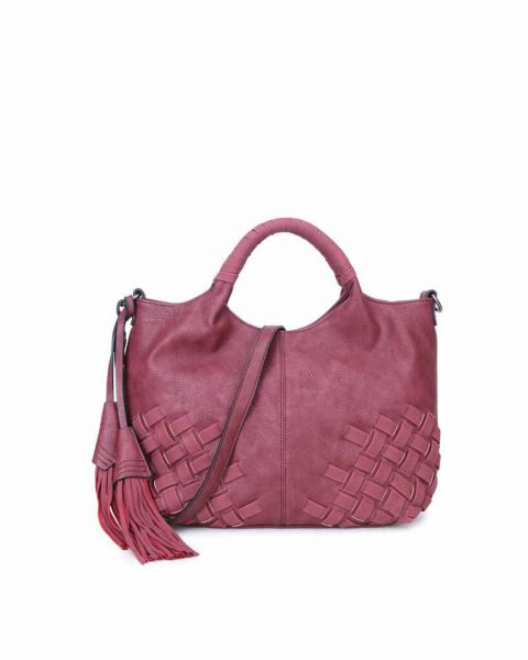 Handtas Billy rood rode dames handtas gevlochten onderkant 2 kwastjes schoudertas it bags tassen online