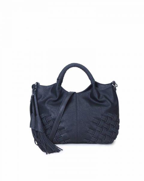 Handtas Billy zwart zwarte dames handtas gevlochten onderkant 2 kwastjes schoudertas it bags tassen online