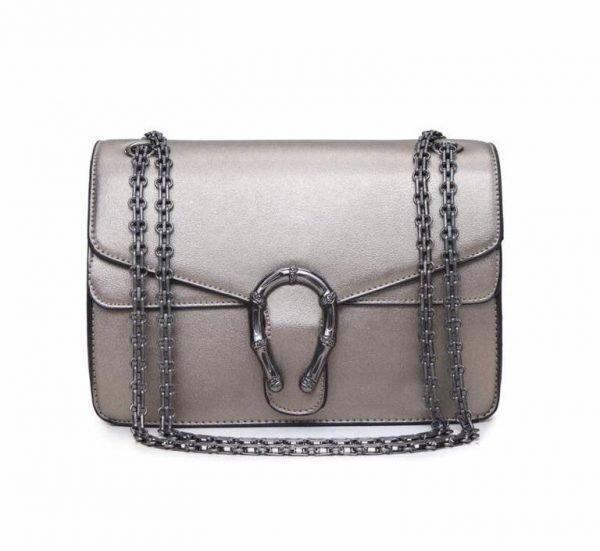 Handtas Diony brons bronzen dames tassen zilveren ketting look a like kunstleder tassen online fashion musthaves tas