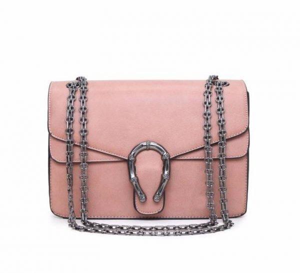 Handtas Diony roze pink dames tassen zilveren ketting look a like kunstleder tassen online fashion musthaves tas
