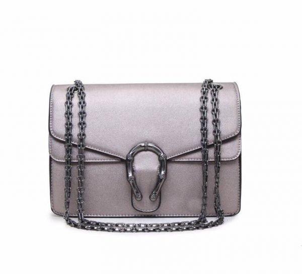 Handtas Diony zilver zilveren dames tassen zilveren ketting look a like kunstleder tassen online fashion musthaves tas
