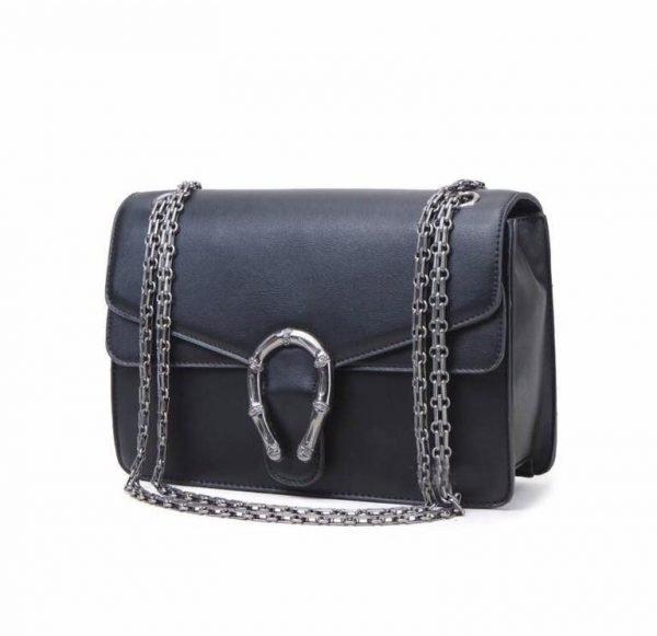 Handtas Diony zwart zwarte dames tassen zilveren ketting look a like kunstleder tassen online fashion musthaves tas 2017