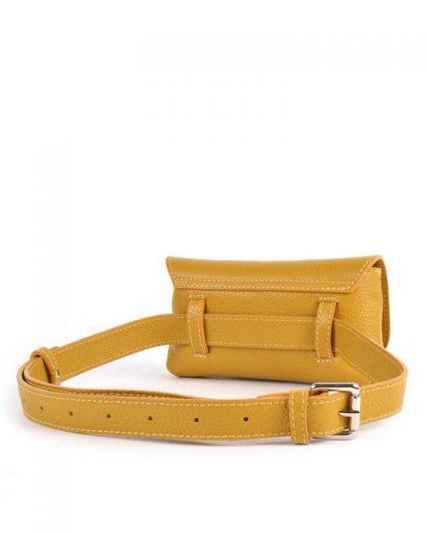 Leren Heuptas Classic geel gele beltbag-belt purse riemtas-heuptasje-met-riem-fashion-festival-musthave-look-a-like-tassen-online-giuliano leder