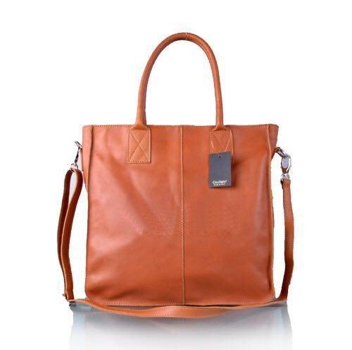 Leren Shopper Lara cognac camel grote lederen shopper rits binnenvakken dames shopper zacht leer online kopen