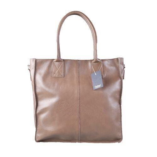 Leren Shopper Lara licht taupe grote lederen shopper rits binnenvakken dames shopper zacht leer online kopen