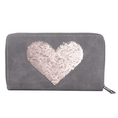 Portemonnee Pailletten Hart grijs grijze dames-portemonees-grote-roze pailletten ster-print-wallet-online-bestellen-kopen-musthave-accessoires