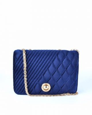 Schoudertas Classy Velvet blauw blauwe dames tassen gouden ketting hengsel beslag it bags klassieke tas online bestellen fashion