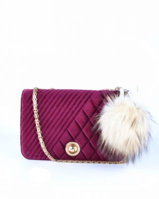 Schoudertas Classy Velvet bordeaux rood rode dames tassen gouden ketting hengsel beslag it bags klassieke tas online bestellen fashion