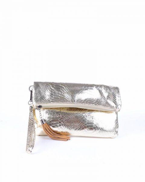 Schoudertas Snake goud gouden clutches tasjes lak coating rits glans slangenprint online fashion tassen kopen