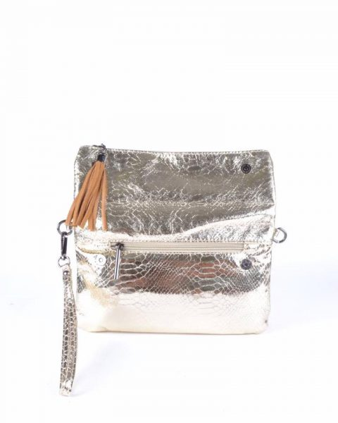 Schoudertas Snake goud gouden clutches tasjes lak coating rits glans slangenprint online fashion tassen kopen open