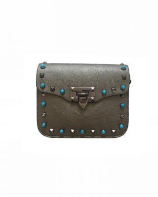 Schoudertasje Studs Brons bronzen tassen blauwe zilveren studs it bags kleine tas online bestellen fashion look a like shoppen