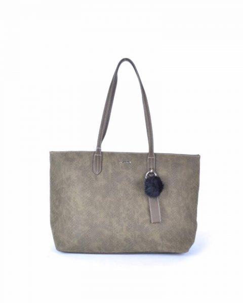 Shopper Soho snake khaki groen david jones shoppers handtas tassen fashion dames tassenhanger musthave tassen online
