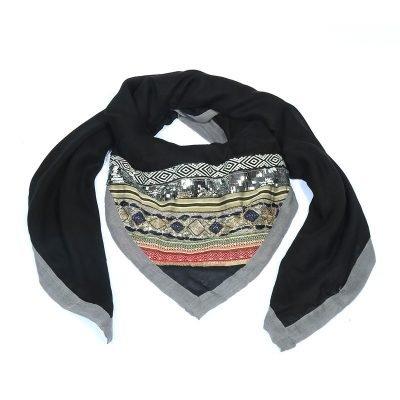 Sjaal Arabian Fantasy zwart zwarte grijze lijn mooie dames driehoeks sjaal fashion omslagdoeken online bestellen