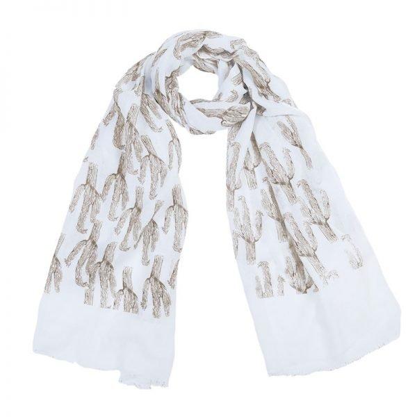Sjaal Cactus witte sjaals met bruin bruine cactussen print dames sjaals omslagdoeken online kopen bestellen