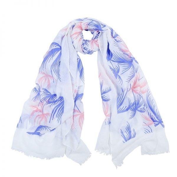 Sjaal Palmtree witte sjaals met blauw roze palmbomen print mooie dames sjaal omslagdoeken online bestellen