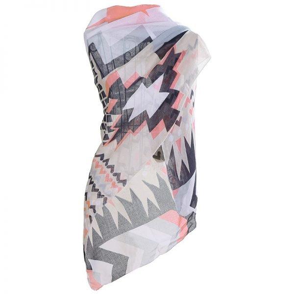 Sjaal hectic Aztec wit witte grijs grijze viscose dames jaals omslagdoeken wit met gekleurde print aztec musthave fashion sjaal