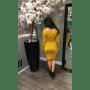 Strapless Jurk Lina geel gele off the shoulders blote schouder zachte dames jurken strecht sexy dames dress kantoor jurk modemusthaves online bestellen achterkant
