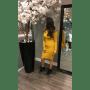 Strapless Jurk Lina geel gele off the shoulders blote schouder zachte dames jurken strecht sexy dames dress kantoor jurk modemusthaves online bestellen zijkant
